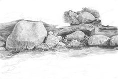 Drawing Lessons, Drawing Rocks, 2b Pencil, Subtle Highlights, Mandala, Landscape, Painting, Graphite Drawings, Scribble