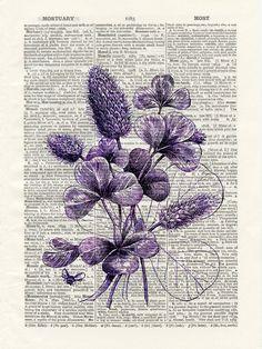 Violets Bouquet Digital Collage Upcyled Antique Book page Art Print