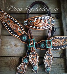 Hand tooled and painted bling tack set with buckstitch. Western Horse Saddles, Cowgirl And Horse, Western Tack, Barrel Saddle, Barrel Racing Horses, Saddle Rack, Barrel Horse, Horse Riding Clothes, Horse Show Clothes