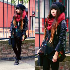 H&M Beanie, Gina Tricot Snood, H&M Faux Leather Jacket, Kimono, River Island Black Skinny Jeans, Topshop Studded Boots