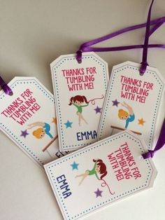 12 Girls Birthday Party Favor Tags  Gymnastics by Onthegoprints