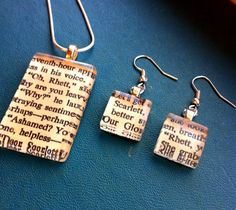 Book pendant and earrings!