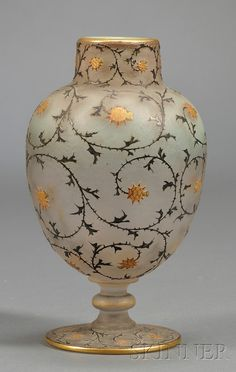Daum Cameo Glass Decorated Vase
