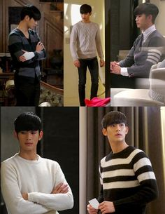"""The knitwear looks great on Do Min Joon in """"You who came from the stars""""."""