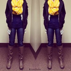 Fall outfit: jeggings; cardigan; jacket; scarf; boots