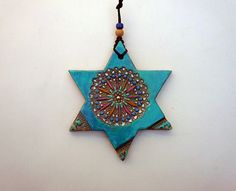 Boho Star of David Wall Hanging Jewish Symbol Magen by Ceramystica