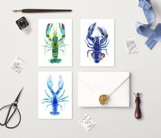 Set of 3 Watercolor Blue Lobster Cards Watercolor Cards, Watercolor Paintings, Lobster Art, Red Crafts, Nautical Painting, Fruit Illustration, Vintage Botanical Prints, Card Sizes, Fine Art Paper