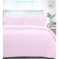 Truro Pink Dotty and Striped Reversible Duvet Cover