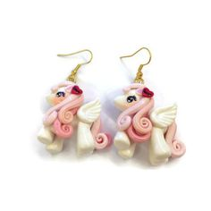 Earrings Unicon Pink Dangle Polymer clay  ER015 by SweetieTiny