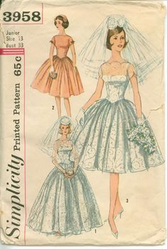1960's Sewing Pattern  MAD MEN Bridal Gown by shellmakeyouflip, $19.50