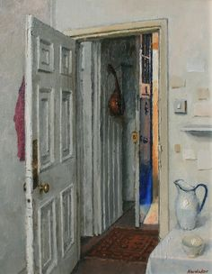 Charles Hardaker, Blue Door and Sunlight, 2011 Openings Local Painters, Interior Paint, Cool Drawings, Art Gallery, Ramen, Doors, Fine Art, Contemporary, Art Interiors