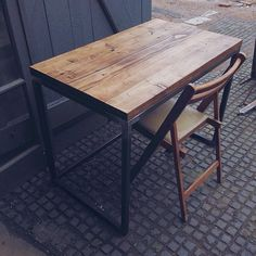 Reclaimed Wood Scaffold Writing Desk With Welded by ReviveJoinery