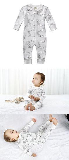 Owlivia Organic Cotton Baby Boy Girl Zip Front Sleep N Play Pajama Sleeper, Footless, Long Sleeve (Size 0-18 Month) (12-18 Months, Leopard)