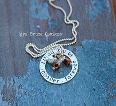 Forever in my heart - personalized silver washer necklace with crystal and pearl drops