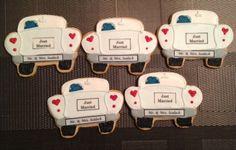 Just married car cookies