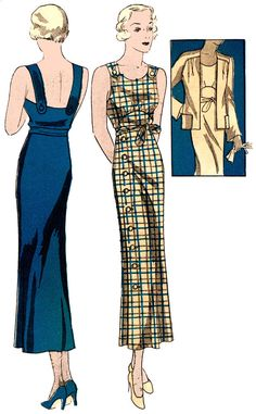 #T0896 - 1930s Ladies Sun Dress With Jacket Sewing Pattern - Historical Glamour