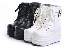 womens goth lace up ankle boots platform wedge Fashion shoes Punk in Clothing, Shoes & Accessories, Women's Shoes, Boots | eBay