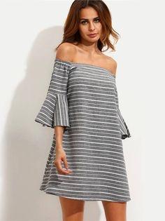 Vestido Listrado com Abertura nas Costas - Compre Online