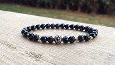 Black Onyx Bracelet with Silver Bali Bead, Beaded Bracelet, Onyx Bracelet, by HarleysJewellery on Etsy