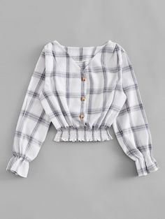Shop Single Breasted V Neck Plaid Blouse online. ROMWE offers Single Breasted V Neck Plaid Blouse & more to fit your fashionable needs.This paired with skinny jeans and booties would be so cute for fall!Shop [good_name] at ROMWE, discover more fashio Girls Fashion Clothes, Teen Fashion Outfits, Trendy Fashion, Girl Fashion, Fashion Dresses, Clothes For Women, Trendy Style, Crop Top Outfits, Cute Casual Outfits