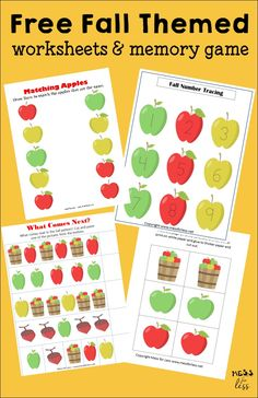 My kids loved these free Fall worksheets and memory game! My kids loved these free Fall worksheets and memory game! Fall Preschool Activities, Apple Activities, Kids Learning Activities, Kindergarten Worksheets, Worksheets For Kids, Fun Learning, Preschool Apples, Language Activities, Indoor Activities