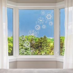 Frosted Flower Window Stickers  Flowers Privacy Glass image 2 Window Stickers Privacy, Window Decals, Net Curtains, Curtains With Blinds, Flower Window, Privacy Glass, Wall Stickers, Interior Decorating, Windows