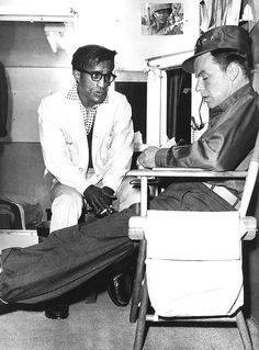 Sammy Davis, Jr. visits Frank Sinatra on the set of Kings Go Forth
