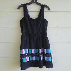 ✨HP✨ BCBGeneration dress Fun and flirty black dress with colorful design. Strap are mesh and dress is 100% polyester. Back zipper. Lined. Worn a few times but in great condition. BCBGeneration Dresses