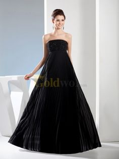 [US$168.00] Empire Cut Strapless Chiffon Evening Dress with Beading