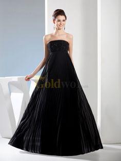 [US$168.00] Empire Cut Strapless Chiffon Evening Dress with Beading