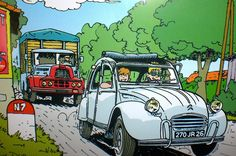 2CV Automobile, 2cv6, Ligne Claire, Car Posters, Car Drawings, Commercial Vehicle, Car Humor, Amazing Cars, Vintage Cars
