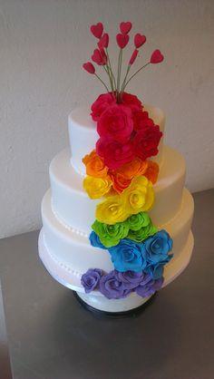 gateau fleurs toutes les couleurs
