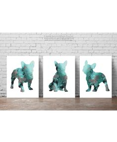 French Bulldog Decor Set of 3 Art Prints, Teal Wall Painting Frenchie Poster, Turquoise Abstract Dog Silhouette, Green and Grey Illustration - leinwand Abstract Animal Art, Animal Art Prints, Watercolor Paint Set, Watercolor Paintings, Painting Abstract, Artwork Prints, Fine Art Prints, Poster Prints, French Bulldog Art