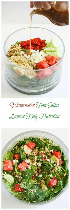 Watermelon Feta Salad with Mint Balsamic Dressing from Lauren Kelly Nutrition @peapoddelivers