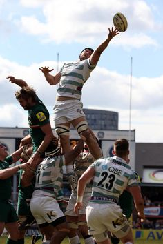 George Skivington of London Irish wins the ball in the line-out during the Aviva Premiership match between Leicester Tigers and London Irish at Welford Road on May 4, 2013 in Leicester, England.