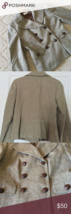 🍁JUST LISTED🍁 LOFT Classic Tweed Blazer Gorgeous like new condition Ann Taylor LOFT neutral tweed jacket. Double-breasted. I love the buttons on this coat. Coattail still has X stitching.  Size 2. LOFT Jackets & Coats Blazers