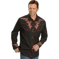 China Scully Red Embroidery Retro Western Shirt on sale