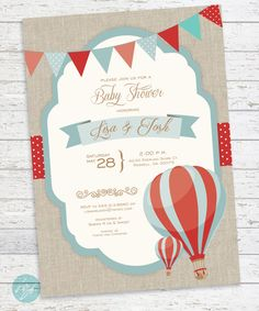 Hot Air Balloon Invitation, Baby Shower, Birthday, Bridal Shower, Vintage Hot Air Balloon, Carnival, PRINTABLE DIGITAL FILE