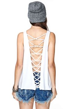 Nasty Gal Back Story Tank - White | Shop Clothes at Nasty Gal