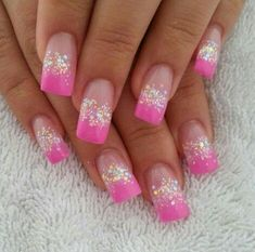 3d nail art designs with pink tips - Google Search