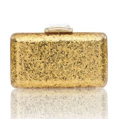Wedding Accessories  This classic Espey is reimagined in glittery Gold perspex, and is designed to rock the party... Featuring a Brass box frame casing, with a faceted clasp, KOTUR's signature brocade lining and a 30 cm drop-in shoulder chain. This compact minaudiere will fit evening essentials and an iPhone 6+