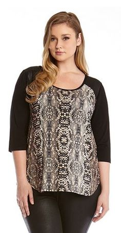 PLUS SIZE FAUX LEATHER SNAKESKIN YOKE TOP #Karen_Kane #Diamondback #Faux…