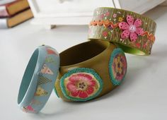 Fun wood bangle bracelets get a makeover with paint, paper and Mod Podge.