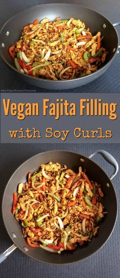 Vegan fajita filling with soy curls peppers and onions also can be used for vegan tacos burritos deconstructed burrito bowls etc vegan fajitas vegan fajita filling wit. Vegan Mexican Recipes, Vegan Dinner Recipes, Vegan Recipes Easy, Whole Food Recipes, Vegetarian Recipes, Indian Recipes, Supper Recipes, Vegetarian Mexican Food, Eating Clean