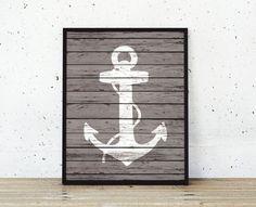 Nautical Anchor Wood Art Prints  Rustic Nautical by BySamantha