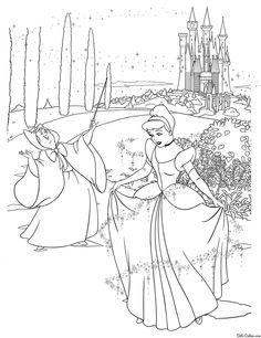 Раскраска Принцесса Диснея Золушка и фея Cinderella Coloring Pages, Disney Coloring Pages, Colouring Pages, Adult Coloring, Coloring Books, Animation, Drawings, Kids, Painting