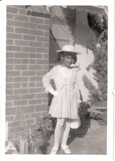 Vintage Snapshot Photo Beautiful Black African American Girl Easter Dress 1960s