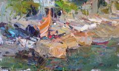 "Makarov Vitaly ""Boat Station"" - oil, canvas $1215.00"