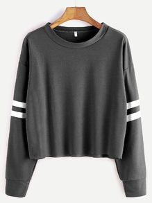 Deep Grey Drop Shoulder Varsity Striped Crop T-shirt