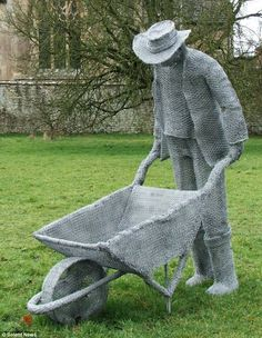 Derek Kinzett has made spectacular lifesize sculptures of figures, including a gardener (above), out of galvanized wire -